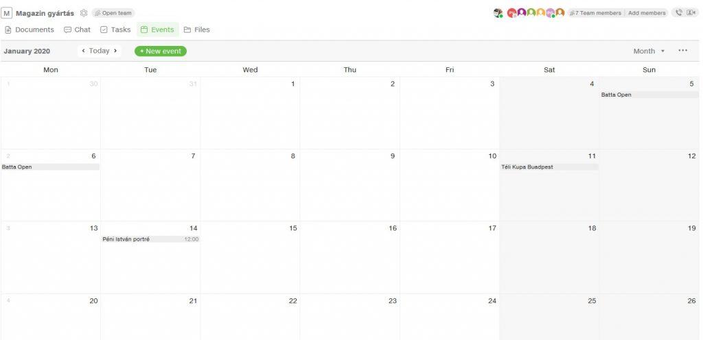 Csoportmunka közös naptár
