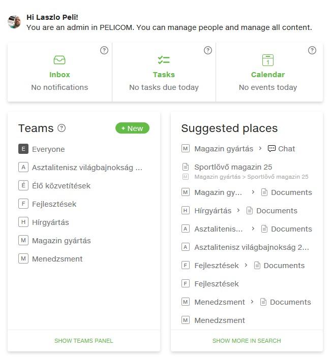 Kezdőképernyő a csoportmunka rendszerben legutóbbi történésekkel